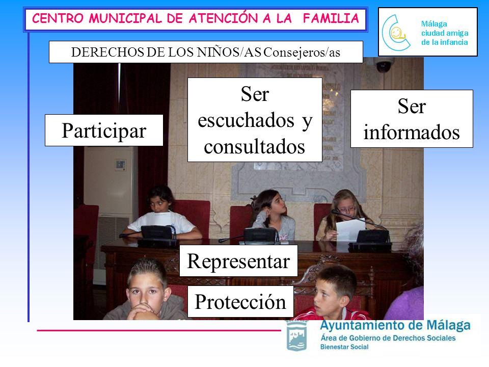 CENTRO MUNICIPAL DE ATENCIÓN A LA FAMILIA DERECHOS DE LOS NIÑOS/AS Consejeros/as Participar Ser informados Ser escuchados y consultados Protección Representar