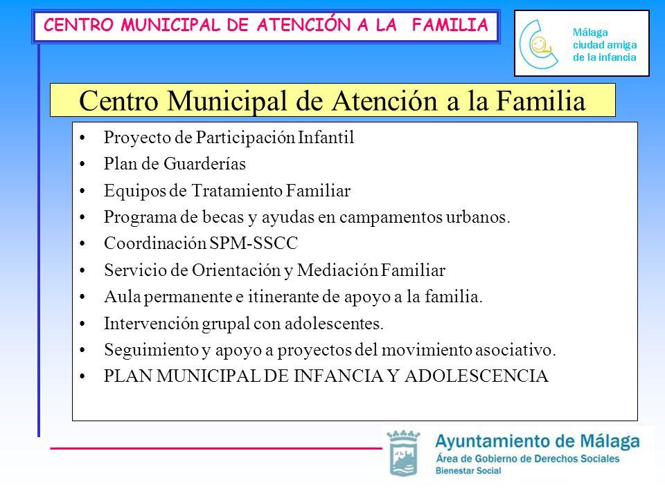 CENTRO MUNICIPAL DE ATENCIÓN A LA FAMILIA Centro Municipal de Atención a la Familia Proyecto de Participación Infantil Plan de Guarderías Equipos de T