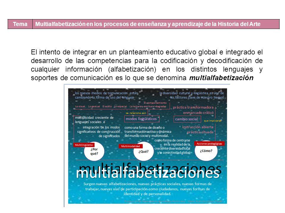 Tema Multialfabetización en los procesos de enseñanza y aprendizaje de la Historia del Arte El intento de integrar en un planteamiento educativo global e integrado el desarrollo de las competencias para la codificación y decodificación de cualquier información (alfabetización) en los distintos lenguajes y soportes de comunicación es lo que se denomina multialfabetización