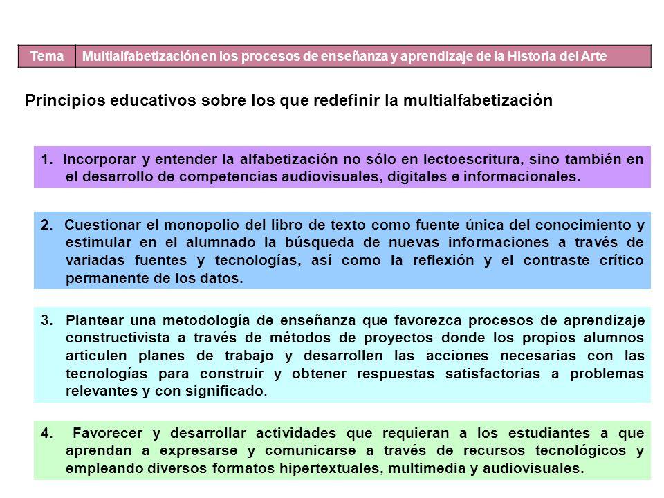 Tema Multialfabetización en los procesos de enseñanza y aprendizaje de la Historia del Arte Principios educativos sobre los que redefinir la multialfabetización 1.