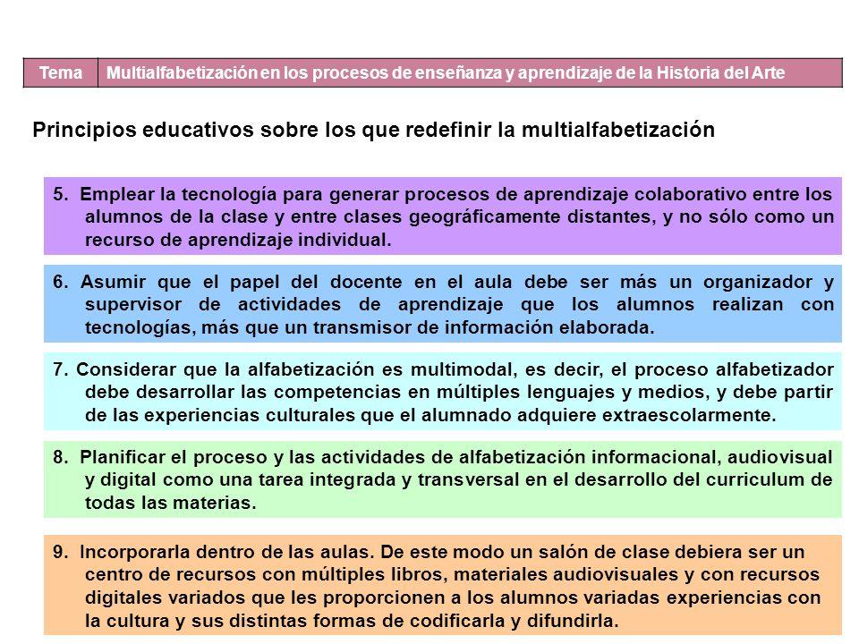 Tema Multialfabetización en los procesos de enseñanza y aprendizaje de la Historia del Arte Principios educativos sobre los que redefinir la multialfabetización 5.