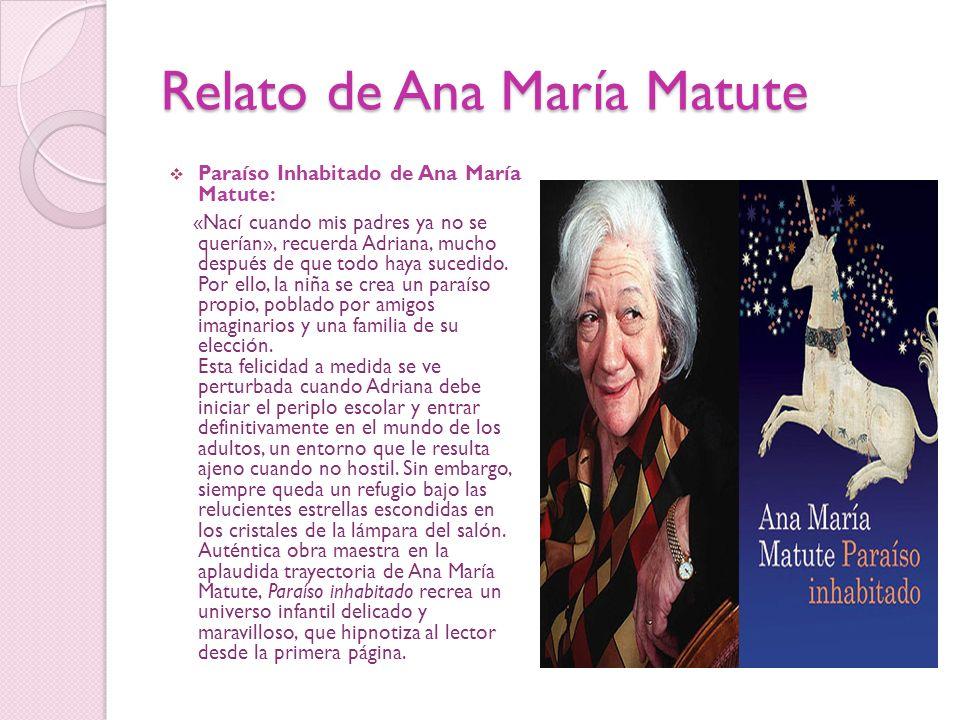 Relato de Ana María Matute Paraíso Inhabitado de Ana María Matute: «Nací cuando mis padres ya no se querían», recuerda Adriana, mucho después de que t