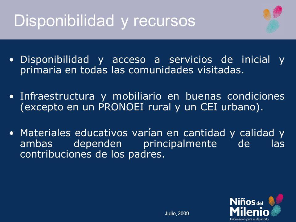 Julio, 2009 Disponibilidad y recursos Disponibilidad y acceso a servicios de inicial y primaria en todas las comunidades visitadas.