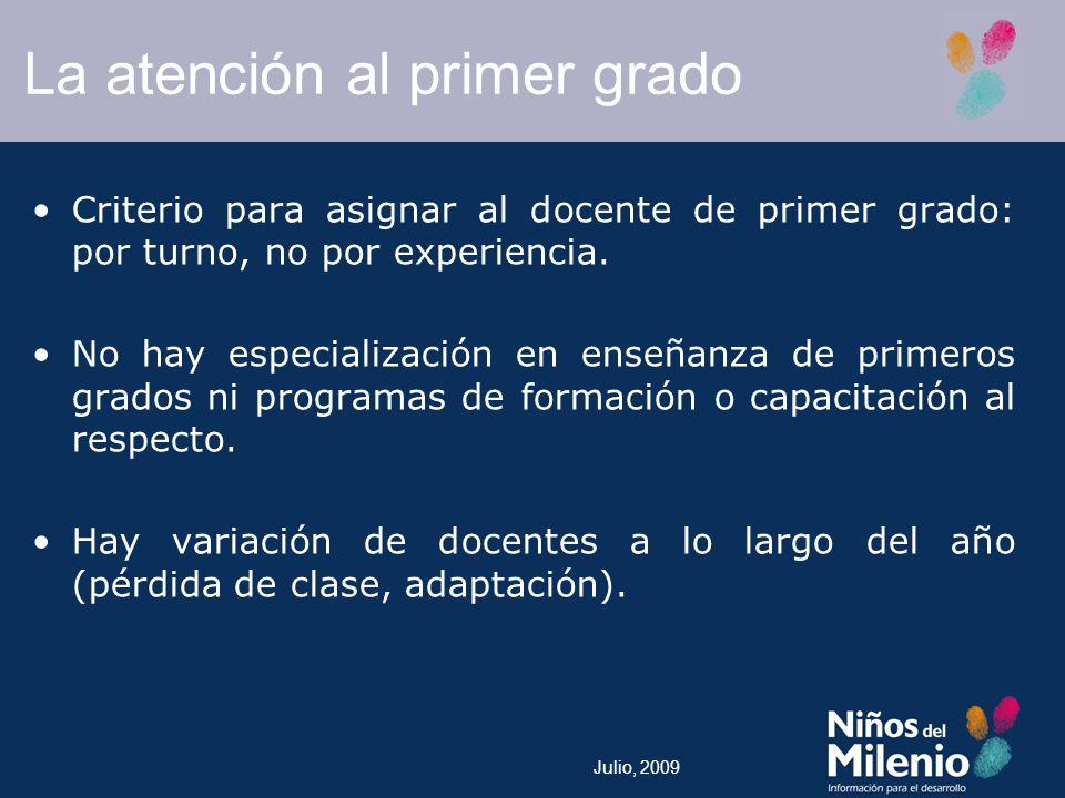 Julio, 2009 La atención al primer grado Criterio para asignar al docente de primer grado: por turno, no por experiencia.