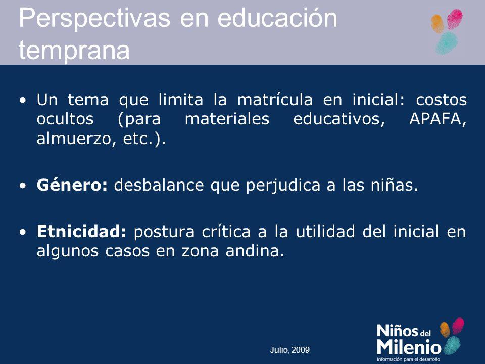 Julio, 2009 Un tema que limita la matrícula en inicial: costos ocultos (para materiales educativos, APAFA, almuerzo, etc.).