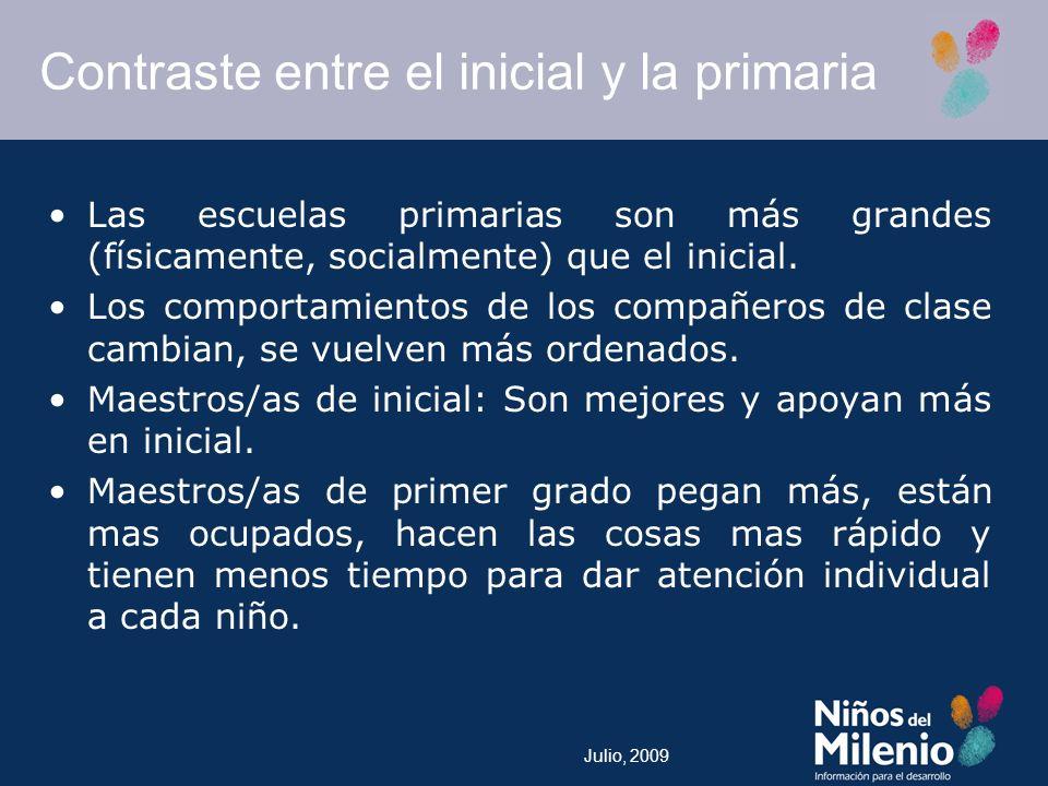 Julio, 2009 Contraste entre el inicial y la primaria Las escuelas primarias son más grandes (físicamente, socialmente) que el inicial.