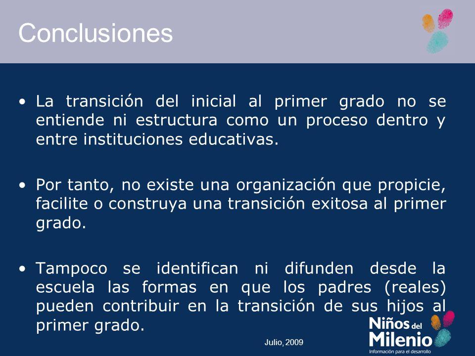 Julio, 2009 Conclusiones La transición del inicial al primer grado no se entiende ni estructura como un proceso dentro y entre instituciones educativas.