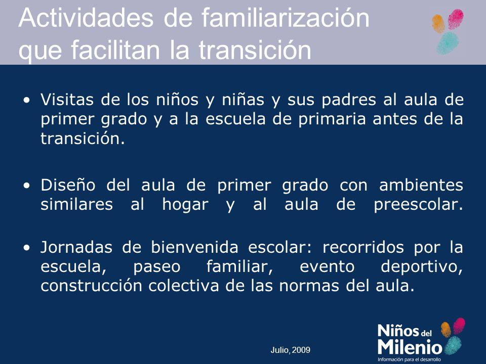 Julio, 2009 Actividades de familiarización que facilitan la transición Visitas de los niños y niñas y sus padres al aula de primer grado y a la escuela de primaria antes de la transición.