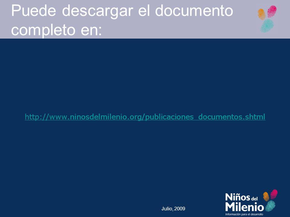 Julio, 2009 Puede descargar el documento completo en: http://www.ninosdelmilenio.org/publicaciones_documentos.shtml