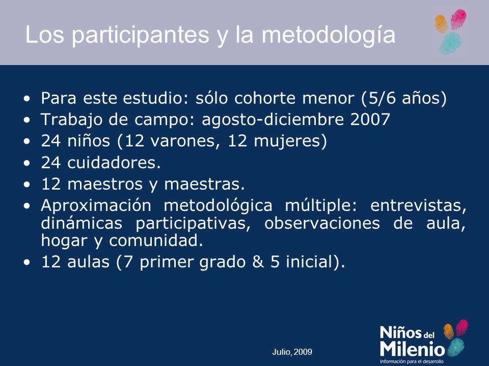 Julio, 2009 Los participantes y la metodología Para este estudio: sólo cohorte menor (5/6 años) Trabajo de campo: agosto-diciembre 2007 24 niños (12 varones, 12 mujeres) 24 cuidadores.