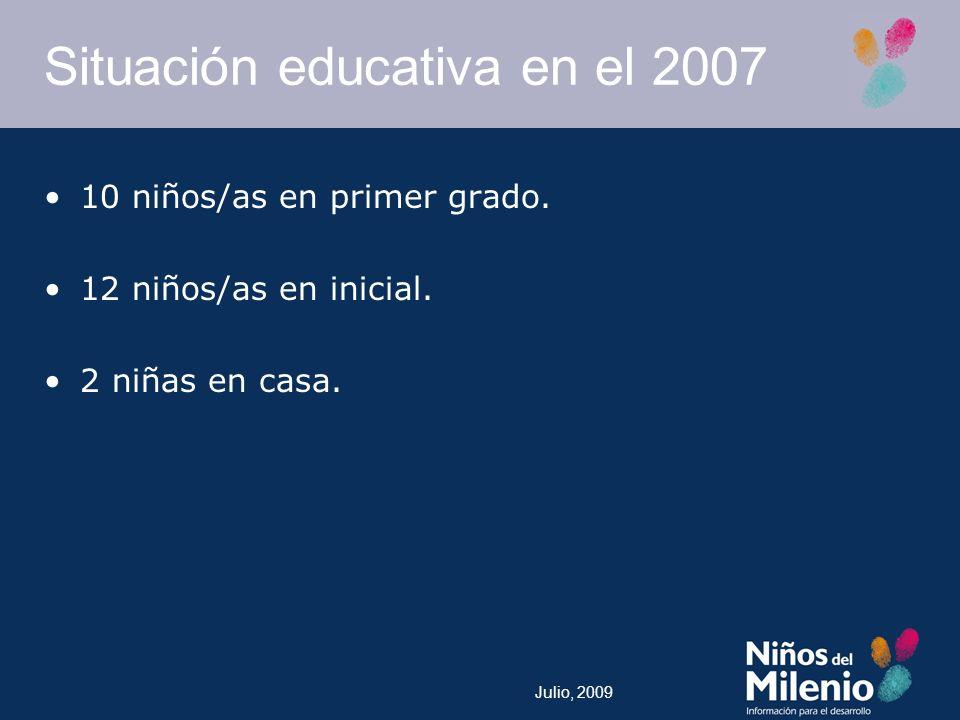 Julio, 2009 Situación educativa en el 2007 10 niños/as en primer grado.