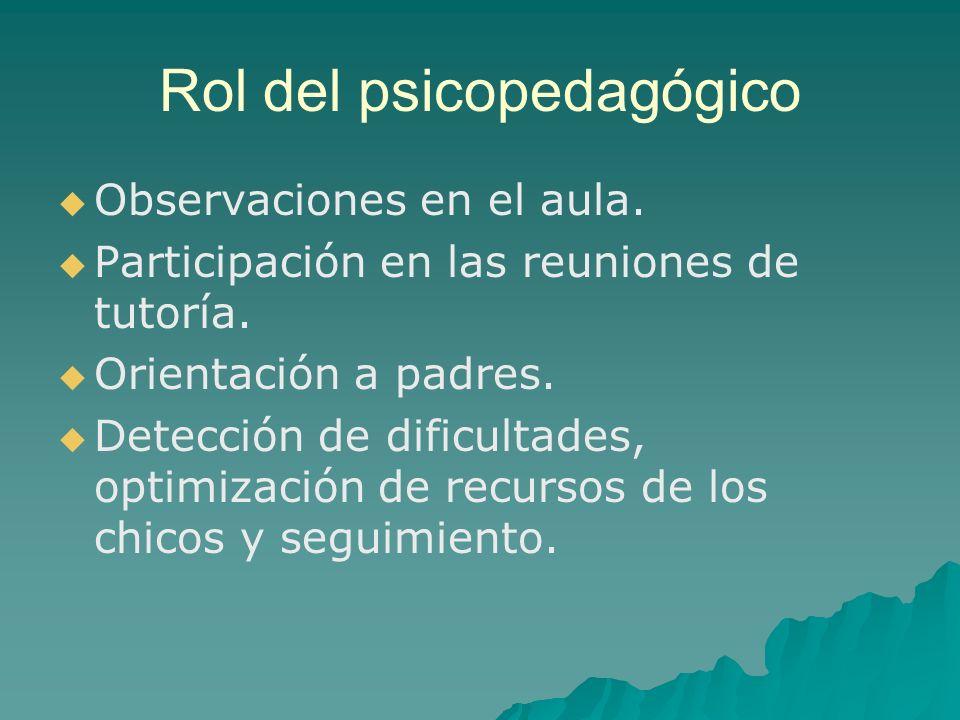 Rol del psicopedagógico Observaciones en el aula. Participación en las reuniones de tutoría. Orientación a padres. Detección de dificultades, optimiza