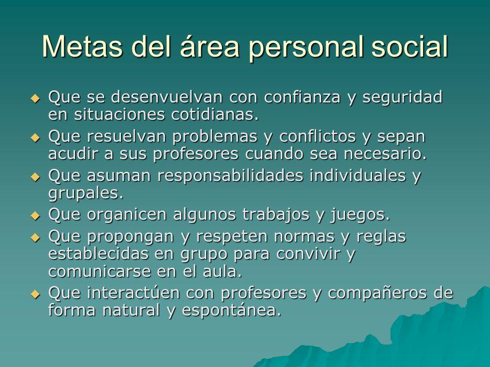 Metas del área personal social Que se desenvuelvan con confianza y seguridad en situaciones cotidianas. Que se desenvuelvan con confianza y seguridad