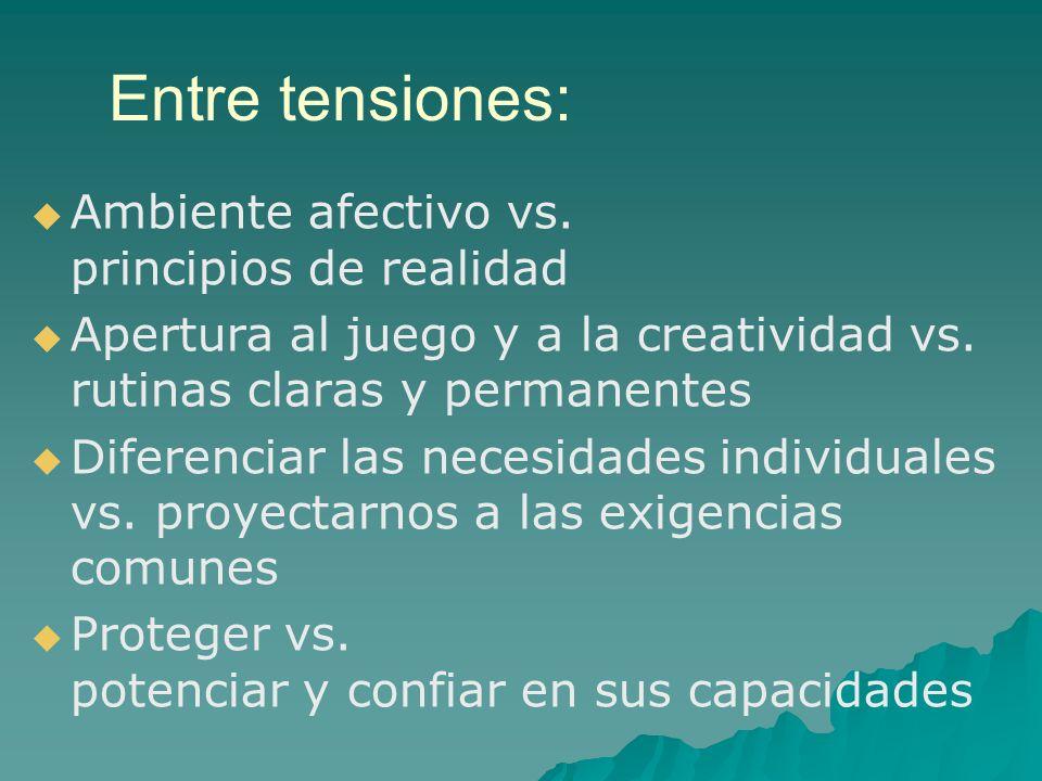 Entre tensiones: Ambiente afectivo vs. principios de realidad Apertura al juego y a la creatividad vs. rutinas claras y permanentes Diferenciar las ne