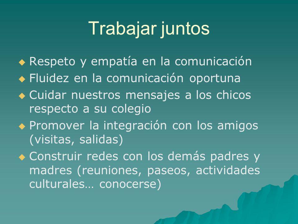 Trabajar juntos Respeto y empatía en la comunicación Fluidez en la comunicación oportuna Cuidar nuestros mensajes a los chicos respecto a su colegio P