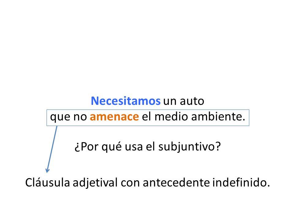 ¿Por qué usa el subjuntivo.Cláusula adjetival con antecedente indefinido.