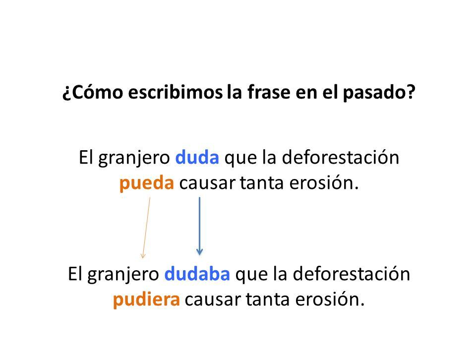 ¿Cómo escribimos la frase en el pasado? El granjero duda que la deforestación pueda causar tanta erosión. El granjero dudaba que la deforestación pudi