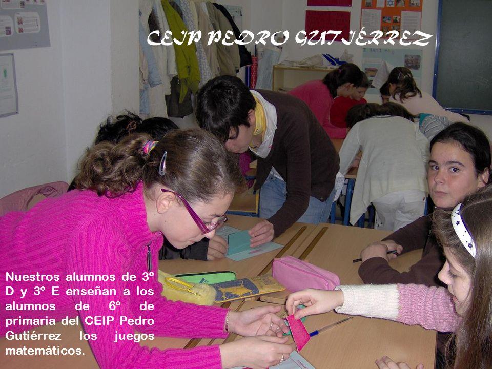 Nuestros alumnos de 3º D y 3º E enseñan a los alumnos de 6º de primaria del CEIP Pedro Gutiérrez los juegos matemáticos. CEIP PEDRO GUTIÉRREZ