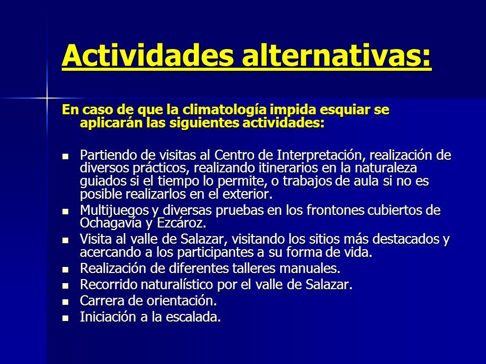 Actividades alternativas: En caso de que la climatología impida esquiar se aplicarán las siguientes actividades: Partiendo de visitas al Centro de Int