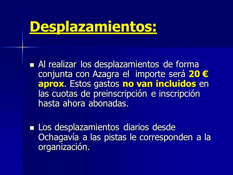 Desplazamientos: Al realizar los desplazamientos de forma conjunta con Azagra el importe será 20 aprox. Estos gastos no van incluidos en las cuotas de