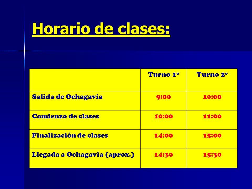 Horario de clases: Turno 1ºTurno 2º Salida de Ochagavía9:0010:00 Comienzo de clases10:0011:00 Finalización de clases14:0015:00 Llegada a Ochagavía (ap