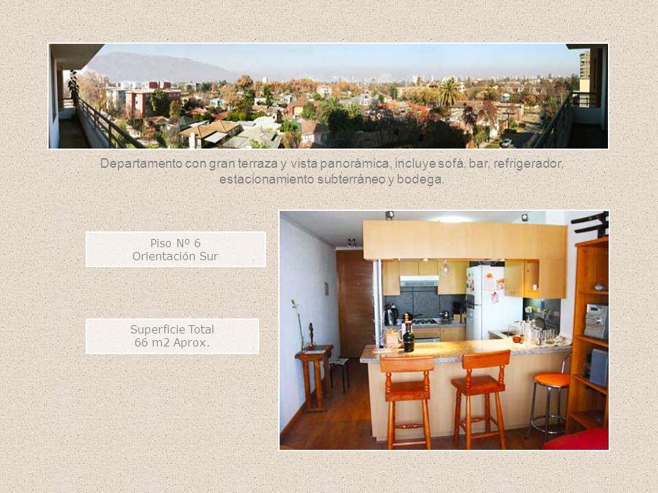 Superficie Total 66 m2 Aprox. Piso Nº 6 Orientación Sur Departamento con gran terraza y vista panorámica, incluye sofá, bar, refrigerador, estacionami