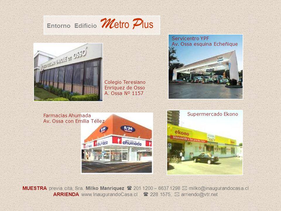 Colegio Teresiano Enríquez de Osso A. Ossa Nº 1157 Entorno Edificio M etro P lus Supermercado Ekono Servicentro YPF Av. Ossa esquina Echeñique Farmaci