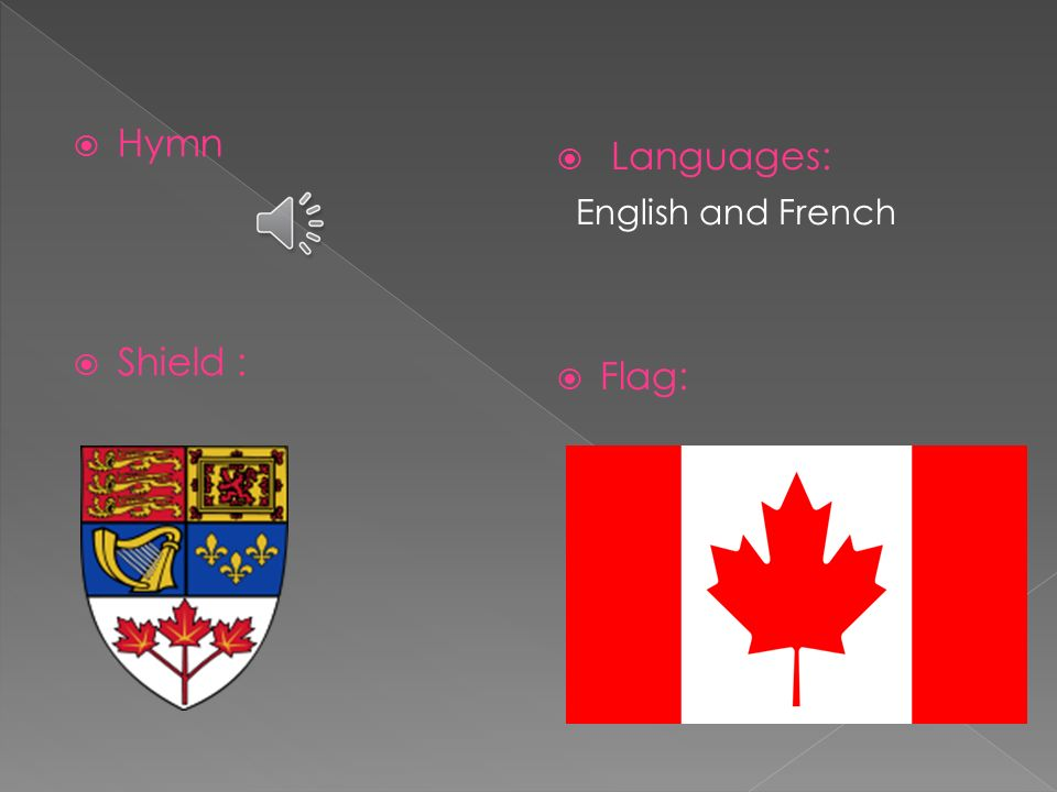 Hymn Shield : Languages: English and French Flag: