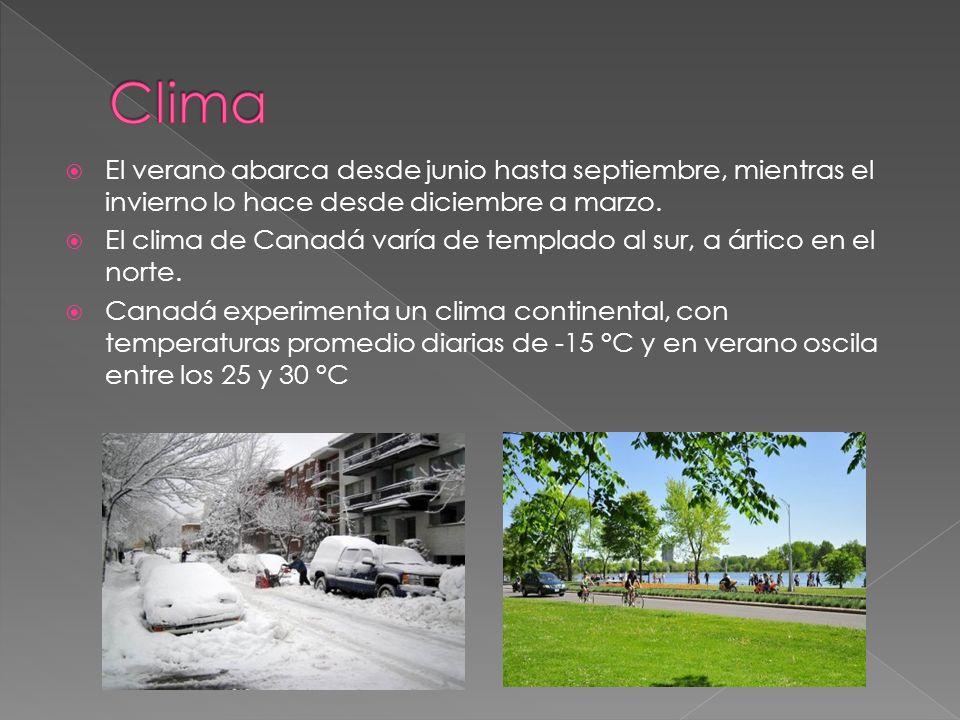 El verano abarca desde junio hasta septiembre, mientras el invierno lo hace desde diciembre a marzo. El clima de Canadá varía de templado al sur, a ár