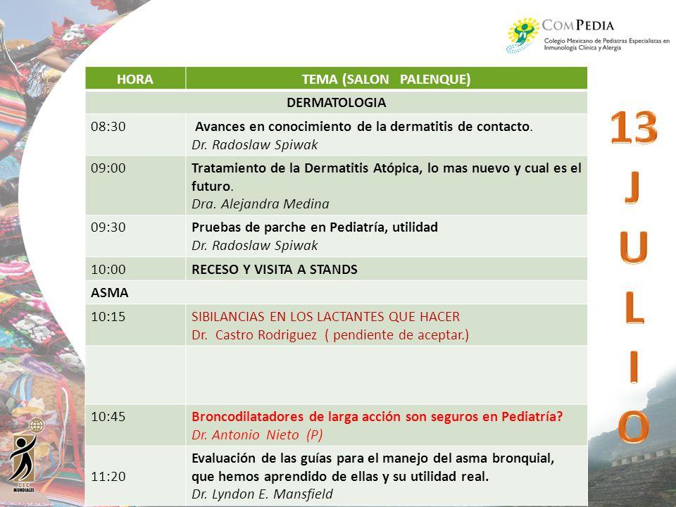 HORATEMA (SALON PALENQUE) DERMATOLOGIA 08:30 Avances en conocimiento de la dermatitis de contacto. Dr. Radoslaw Spiwak 09:00Tratamiento de la Dermatit