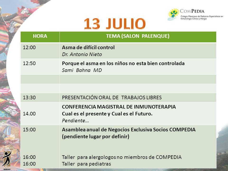 HORATEMA (SALON PALENQUE) 12:00Asma de difícil control Dr. Antonio Nieto 12:50Porque el asma en los niños no esta bien controlada Sami Bahna MD 13:30P