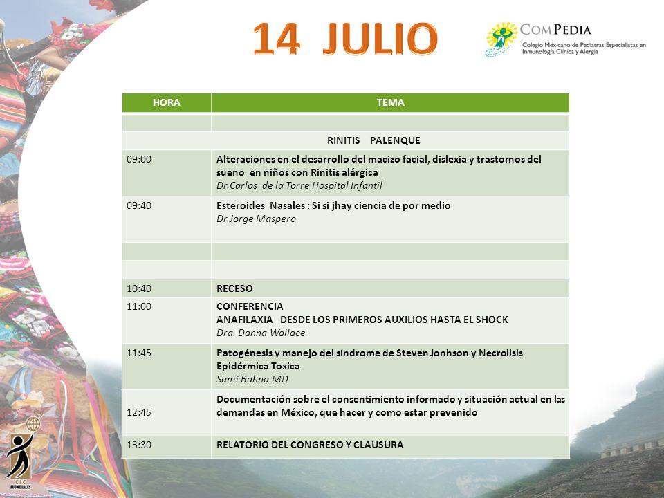 HORATEMA RINITIS PALENQUE 09:00Alteraciones en el desarrollo del macizo facial, dislexia y trastornos del sueno en niños con Rinitis alérgica Dr.Carlo