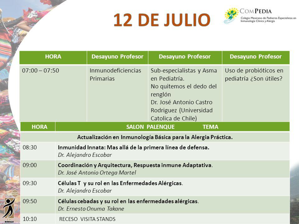 HORADesayuno Profesor 07:00 – 07:50Inmunodeficiencias Primarias Sub-especialistas y Asma en Pediatría. No quitemos el dedo del renglón Dr. José Antoni