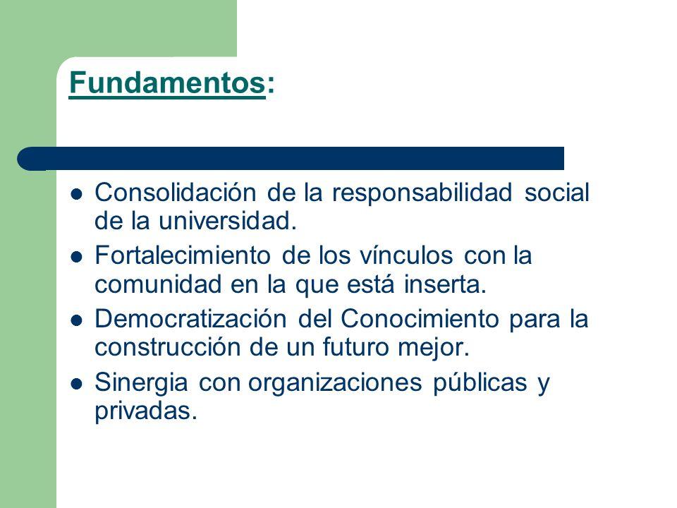 Fundamentos: Consolidación de la responsabilidad social de la universidad. Fortalecimiento de los vínculos con la comunidad en la que está inserta. De