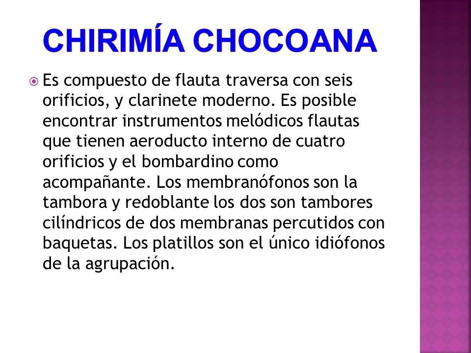 Es compuesto de flauta traversa con seis orificios, y clarinete moderno.