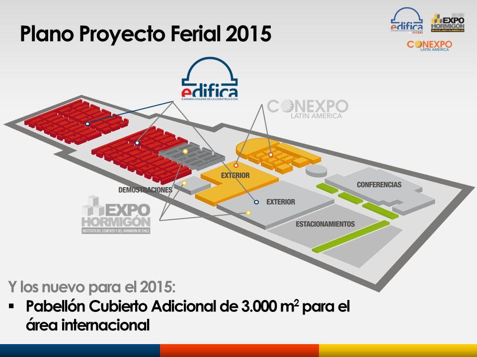 Plano Proyecto Ferial 2015 Y los nuevo para el 2015: Pabellón Cubierto Adicional de 3.000 m 2 para el área internacional