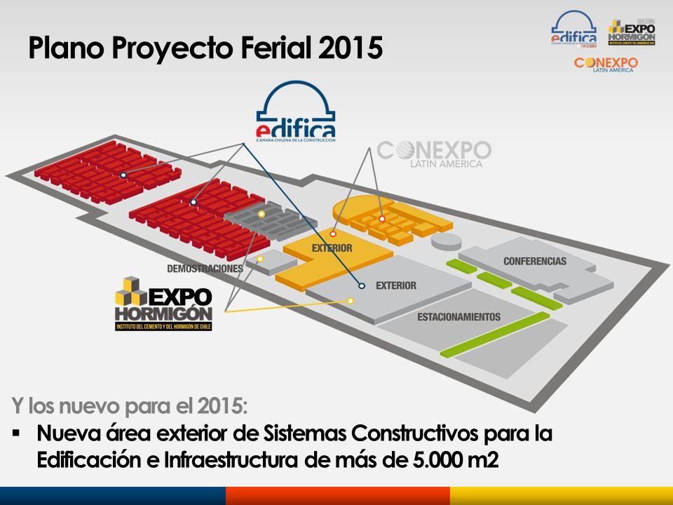 Plano Proyecto Ferial 2015 Y los nuevo para el 2015: Nueva área exterior de Sistemas Constructivos para la Edificación e Infraestructura de más de 5.0