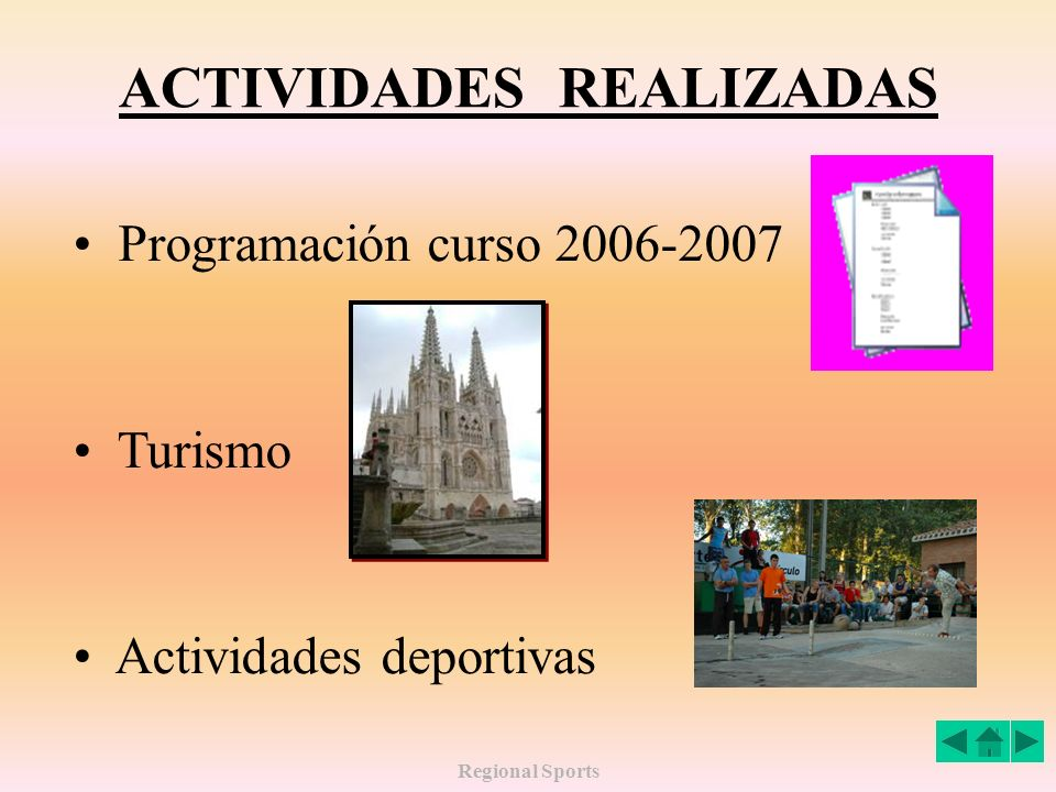 Regional Sports ACTIVIDADES REALIZADAS Programación curso 2006-2007 Turismo Actividades deportivas