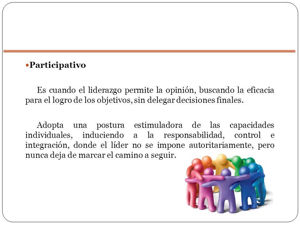 Participativo Es cuando el liderazgo permite la opinión, buscando la eficacia para el logro de los objetivos, sin delegar decisiones finales. Adopta u