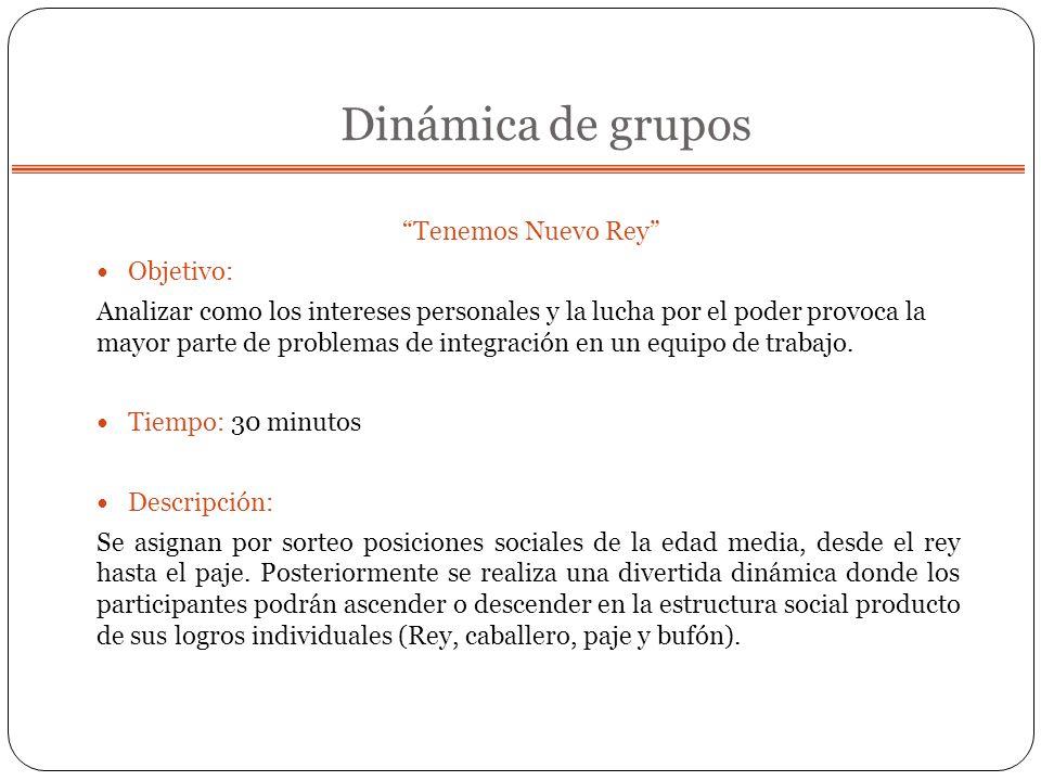 Dinámica de grupos Tenemos Nuevo Rey Objetivo: Analizar como los intereses personales y la lucha por el poder provoca la mayor parte de problemas de i