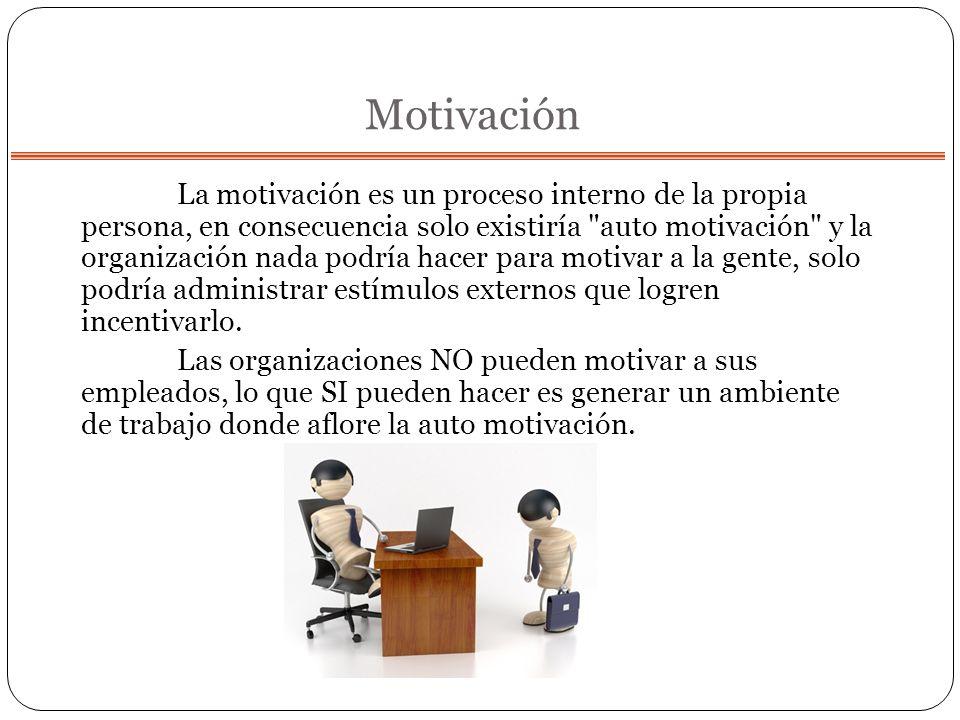 Motivación La motivación es un proceso interno de la propia persona, en consecuencia solo existiría