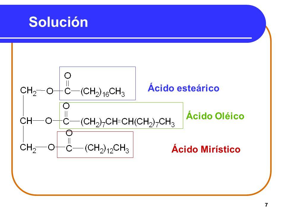7 Solución Ácido esteárico Ácido Oléico Ácido Mirístico