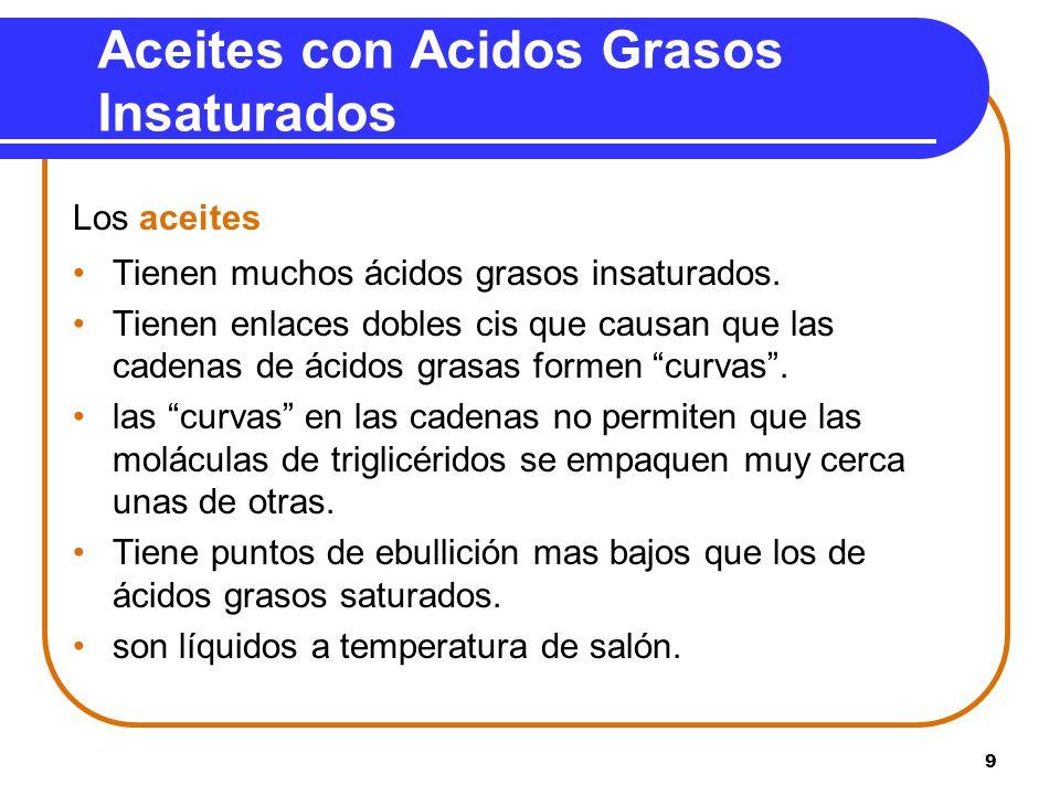 9 Aceites con Acidos Grasos Insaturados Los aceites Tienen muchos ácidos grasos insaturados. Tienen enlaces dobles cis que causan que las cadenas de á