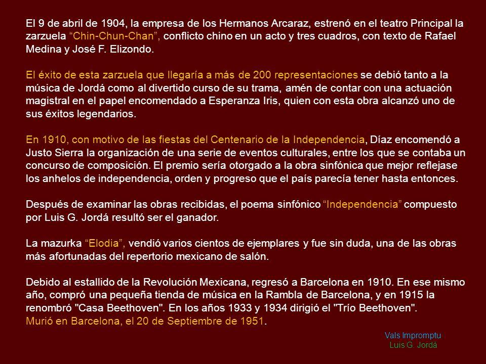 Biografía Luís G. Jordà, nació en Les Masies de Roda, perteneciente a la provincia de Barcelona, el 16 de Junio de 1869. Inició sus estudios musicales