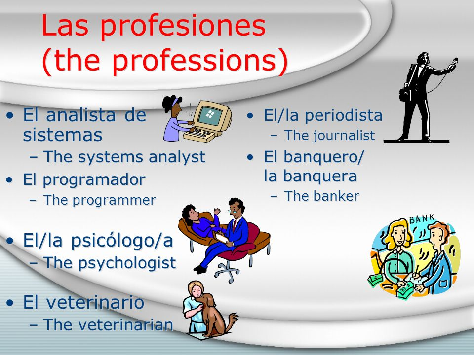 Las profesiones (the professions) El analista de sistemas –The systems analyst El programador –The programmer El/la psicólogo/a –The psychologist El veterinario –The veterinarian El analista de sistemas –The systems analyst El programador –The programmer El/la psicólogo/a –The psychologist El veterinario –The veterinarian El/la periodista –The journalist El banquero/ la banquera –The banker
