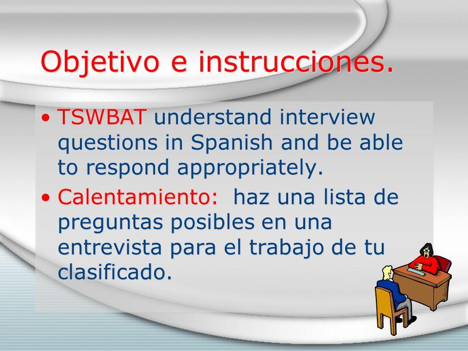 Objetivo e instrucciones.
