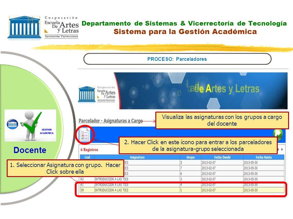 Departamento de Sistemas & Vicerrectoría de Tecnología Sistema para la Gestión Académica PROCESO: Parceladores Docente Visualiza las asignaturas con l
