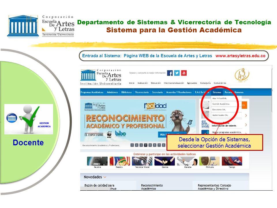 Docente Departamento de Sistemas & Vicerrectoría de Tecnología Sistema para la Gestión Académica Entrada al Sistema: Pàgina WEB de la Escuela de Artes