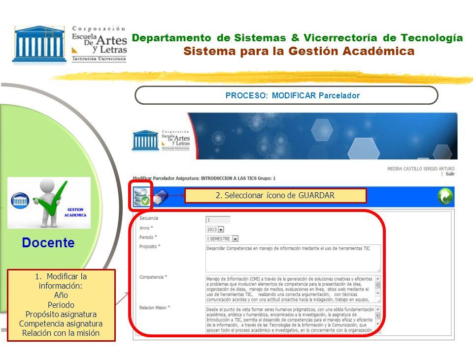 Departamento de Sistemas & Vicerrectoría de Tecnología Sistema para la Gestión Académica PROCESO: MODIFICAR Parcelador Docente 1.Modificar la informac