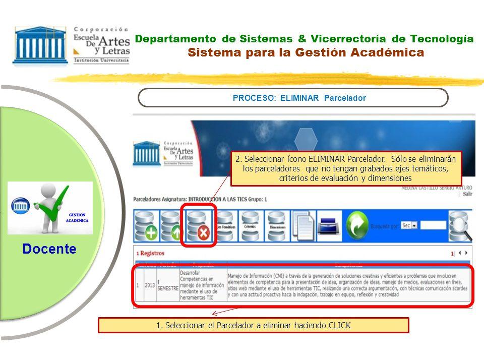Departamento de Sistemas & Vicerrectoría de Tecnología Sistema para la Gestión Académica PROCESO: ELIMINAR Parcelador Docente 2. Seleccionar ícono ELI
